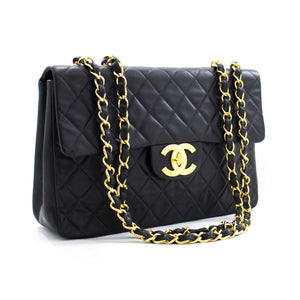 "CHANEL Jumbo 13"" Maxi 2.55 Flap Chain Shoulder Bag Black Lambskin z13 hannari-shop"