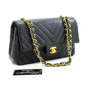 CHANEL 2.55 V-Stitch Double Flap Chain Shoulder Bag Black Lambskin b18 hannari-shop