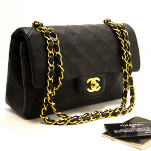 "CHANEL 2.55 Double Flap 9"" Chain Shoulder Bag Black Quilted Lamb s25"