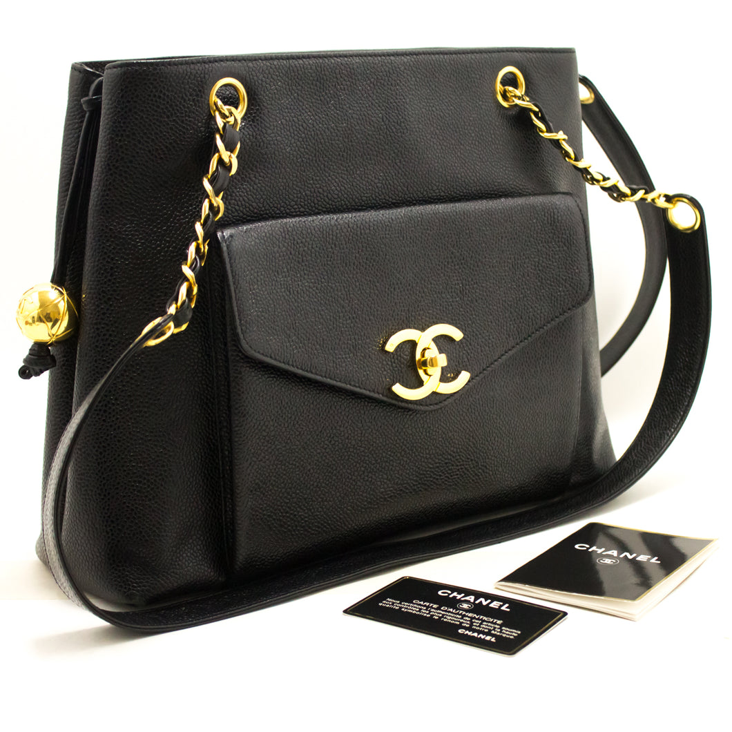 CHANEL Caviar Large Chain Shoulder Bag Black Leather Gold Hardware j51