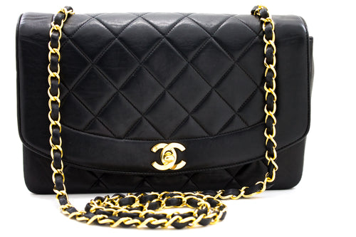 CHANEL Diana Flap Chain Shoulder Bag Crossbody Black Lambskin x29 hannari-shop