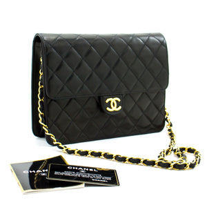 CHANEL Small Chain Shoulder Bag Clutch Black Quilted Flap Lambskin a94 hannari-shop