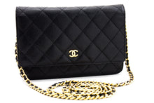 CHANEL Caviar Wallet On Chain WOC Black Shoulder Bag Crossbody x31 hannari-shop