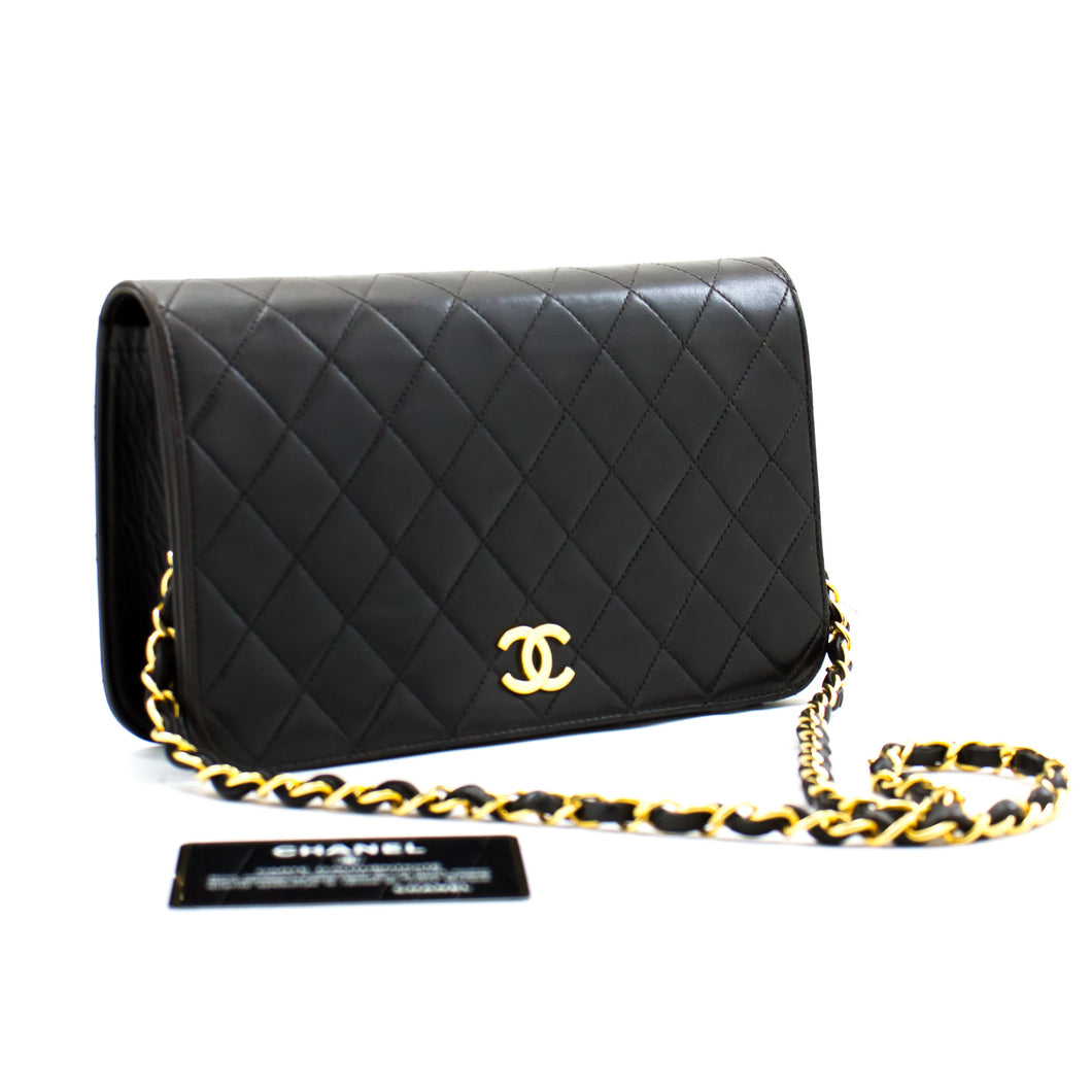CHANEL Full Flap Chain Shoulder Bag Clutch Black Quilted Lambskin b20 hannari-shop