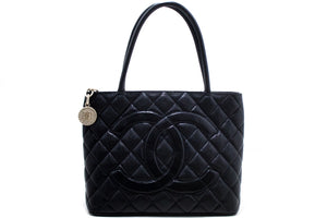 CHANEL Silver Medallion Caviar Shoulder Bag Shopping Tote Black R59