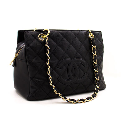 CHANEL Caviar Chain Shoulder Bag Shopping Tote Black Quilted Purse z30 hannari-shop