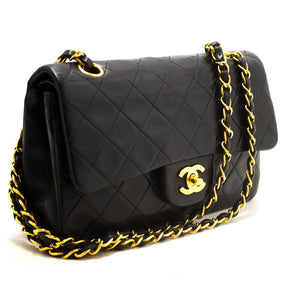 "CHANEL 2.55 Double Flap 9"" Chain Shoulder Bag Black Quilted Lamb s35-hannari-shop"