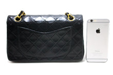 "CHANEL 2.55 Double Flap 9"" Chain Shoulder Bag Black Quilted Lamb s35"
