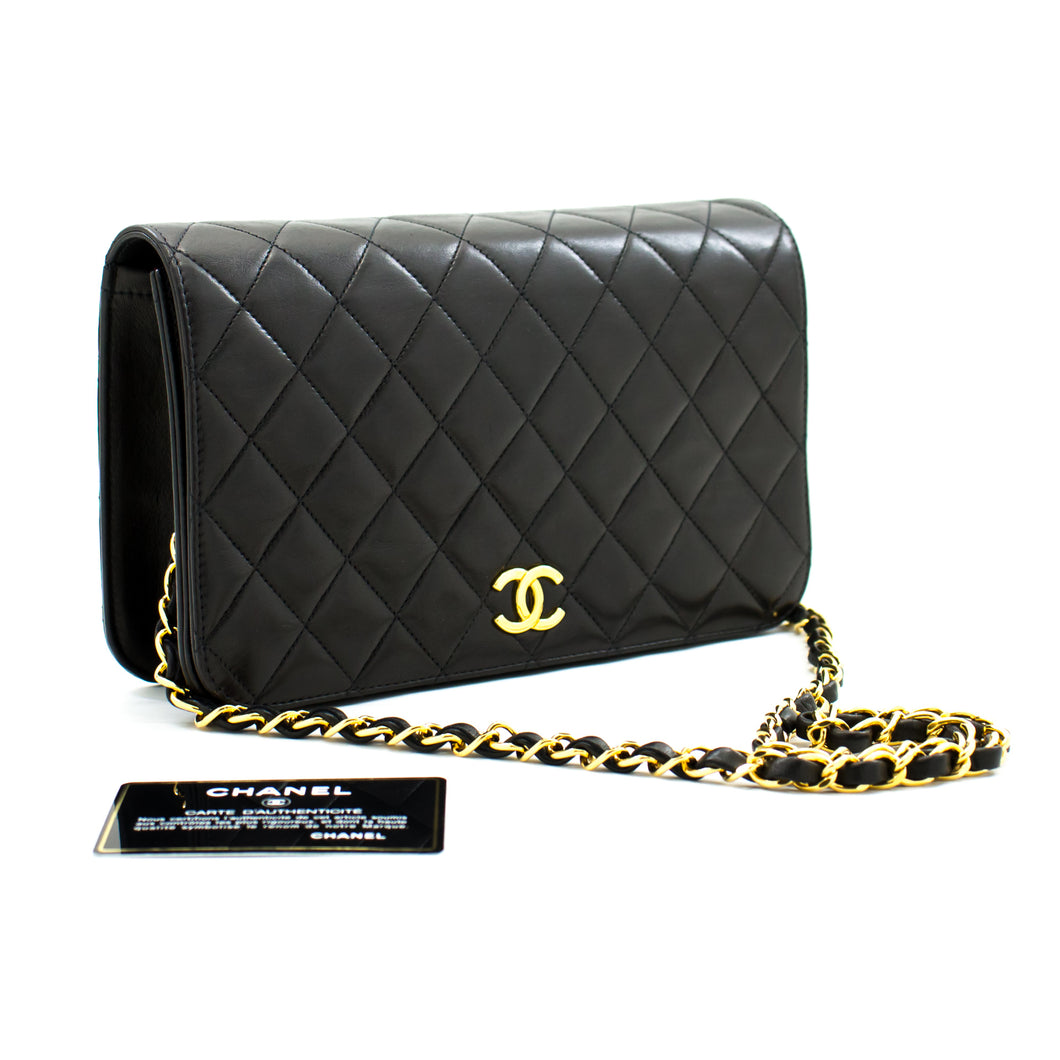 CHANEL Full Flap Chain Shoulder Bag Clutch Black Quilted Lambskin b35 hannari-shop