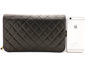 I-CHANEL Flap Chain Full Beer Bag Clutch Black Quilted Lambskin b35 hannari-shop
