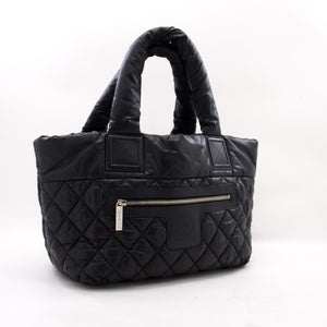 CHANEL Coco Cocoon Nylon Tote сумка Handbag Black Bordeaux Leather z28 hannari-shop
