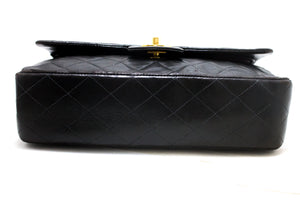 "CHANEL 2.55 Double Flap 10"" Chain Shoulder Bag Black Quilted Lamb R92"