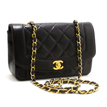 CHANEL Diana Flap Chain Shoulder Bag Crossbody Black Quilted Lamb R94
