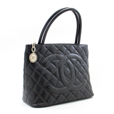 CHANEL Silver Medallion Caviar Shoulder Bag Shopping Tote Black b26 hannari-shop