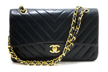 CHANEL V-Stitch Double Flap Chain Shoulder Bag Black Quilted Lamb s36