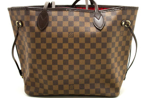 Louis Vuitton Damier Ebene Neverfull MM Shoulder Bag Canvas j27