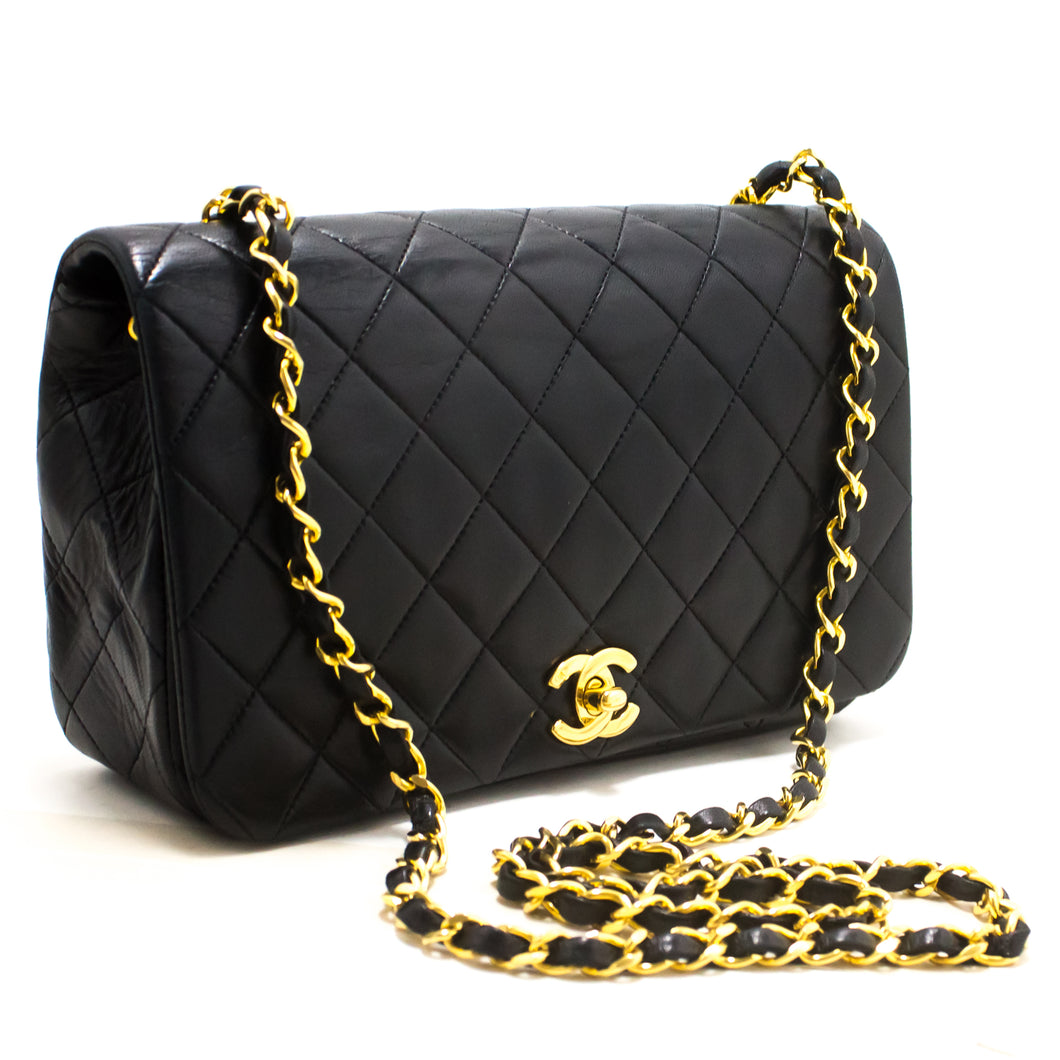 CHANEL Chain Shoulder Bag Crossbody Black Quilted Flap Lambskin s38-hannari-shop