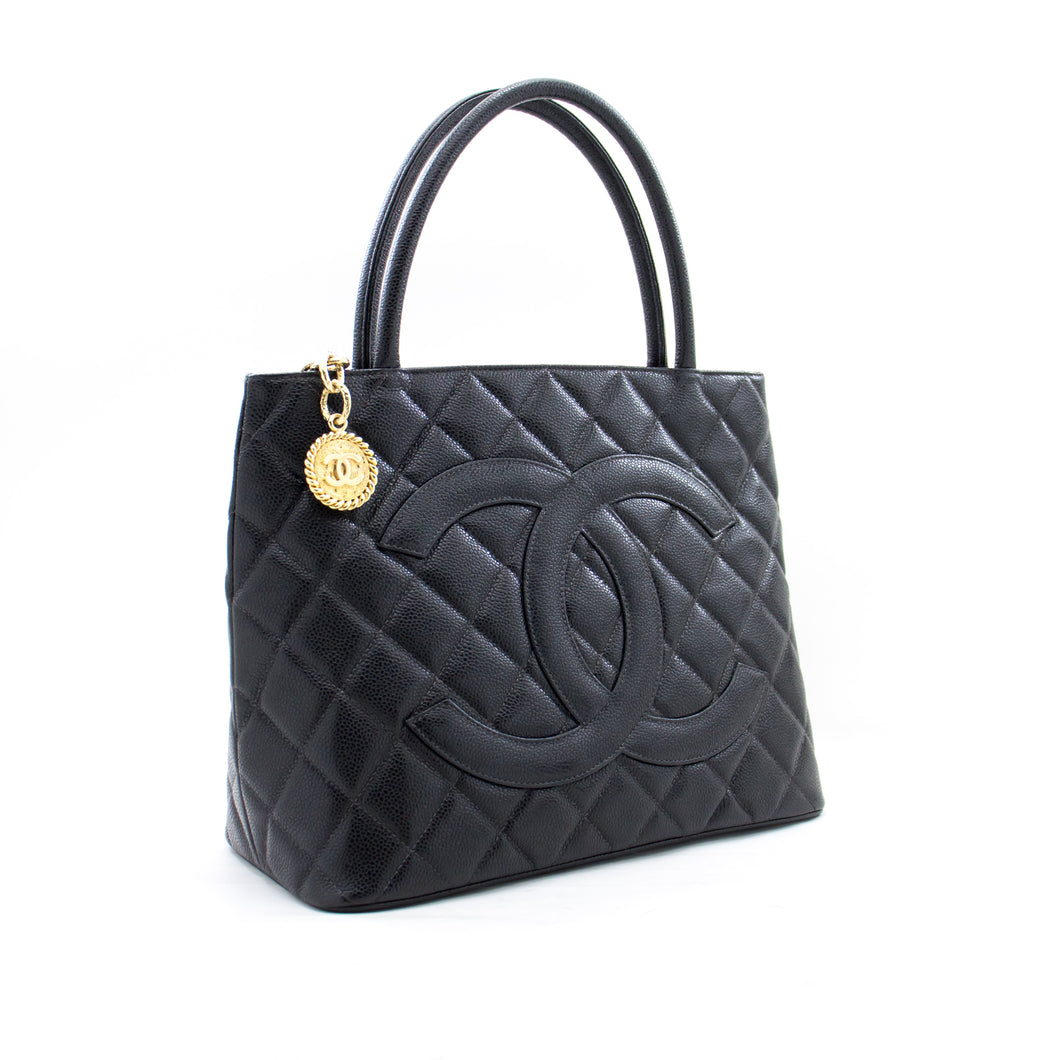 CHANEL Gold Medallion Caviar Shoulder Bag Shopping Tote Black b36 hannari-shop