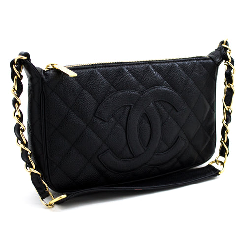 CHANEL Caviar Mini Small Chain One Shoulder Bag Black Quilted x69 hannari-shop