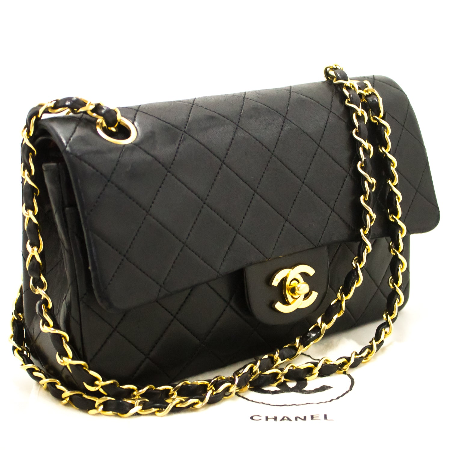 ... CHANEL Small Double Flap Chain Shoulder Bag Black Quilted Lambskin j57  ... c7cb277dbb107