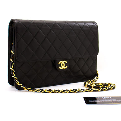 CHANEL Chain Shoulder Bag Clutch Black Quilted Flap Lambskin Purse z36 hannari-shop