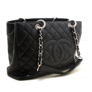 "CHANEL Caviar GST 13"" Grand Shopping Tote Chain Shoulder Bag Black R56-hannari-shop"