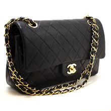 CHANEL 2.55 Double Flap Chain Shoulder Bag Black Quilted Lambskin s10-hannari-shop