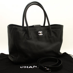 CHANEL Executive Tote Caviar Shoulder Bag Black Silver Leather g96