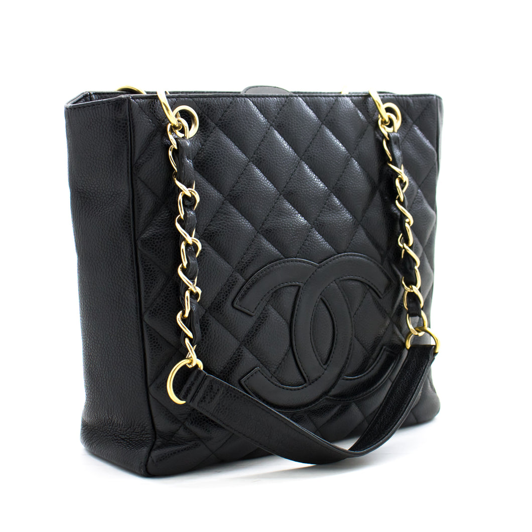 CHANEL Caviar PST Chain Shoulder Bag Shopping Tote Black Quilted b76 hannari-shop