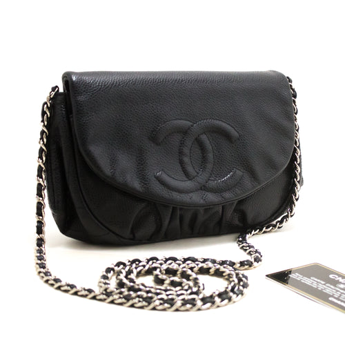 CHANEL Caviar Half Moon WOC Black Wallet On Chain Shoulder Bag s15-hannari-shop