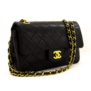 "CHANEL 2.55 Double Flap 9"" Chain Shoulder Bag Black Lambskin z23 hannari-shop"