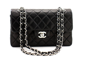 "CHANEL 2.55 Double Flap 9 ""Silberketten-Umhängetasche Black Lamb b69 hannari-shop"