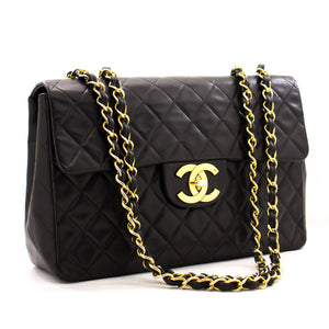 "CHANEL Jumbo 13"" Maxi 2.55 Flap Chain Shoulder Bag Black Lambskin z52 hannari-shop"