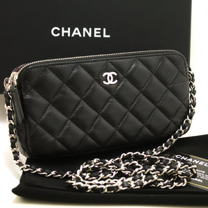 CHANEL Wallet On Chain WOC Double Zip Chain Shoulder Bag Black j30