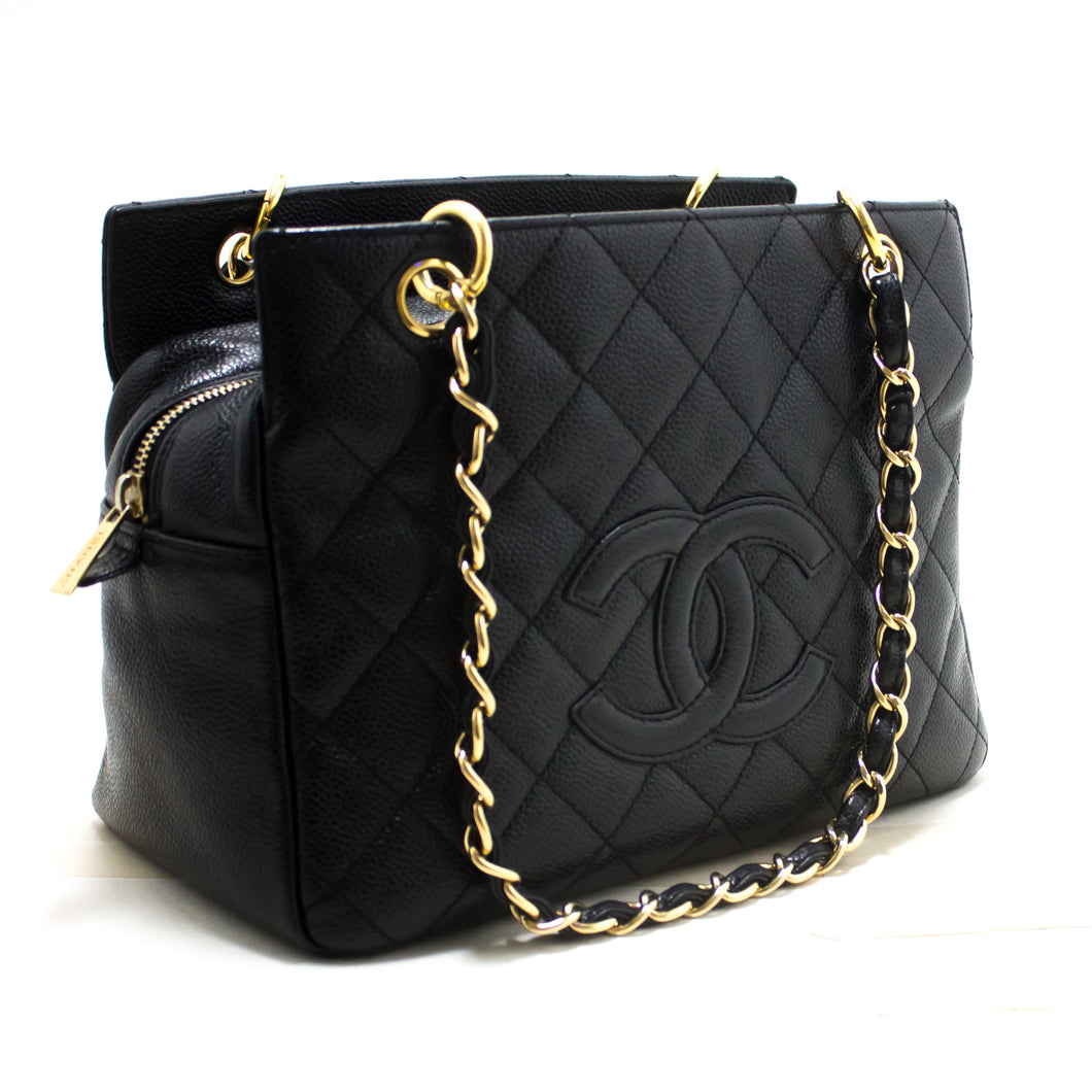 CHANEL Caviar Chain Shoulder Bag Shopping Tote Black Quilted Purse R93-hannari-shop