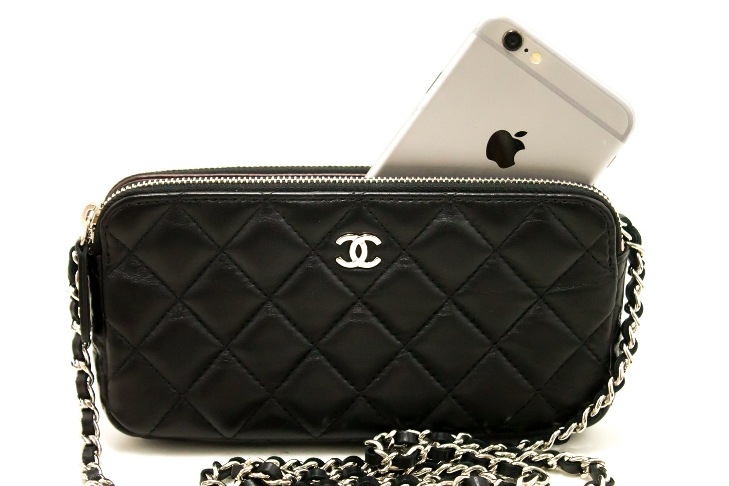 ... CHANEL Wallet On Chain WOC Double Zip Chain Shoulder Bag Black j30 ... 229980f19abe4