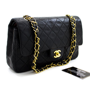 "CHANEL 2.55 Double Flap 10"" Chain Shoulder Bag Black Lambskin y20 hannari-shop"