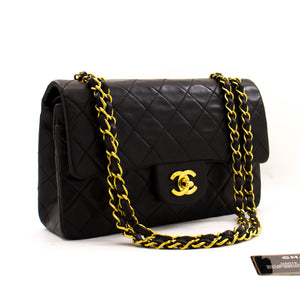 "CHANEL 2.55 Double Flap 9"" Chain Shoulder Bag Black Lambskin z43 hannari-shop"