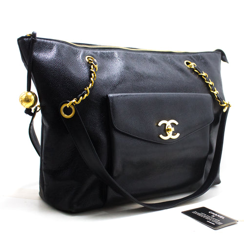 CHANEL Caviar Large Chain Shoulder Bag Black Leather Gold Hardware R95
