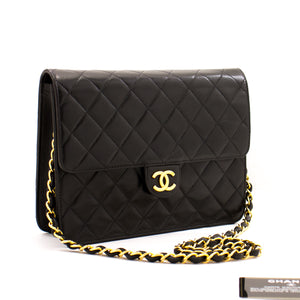 CHANEL Small Chain Shoulder Bag Clutch Black Quilted Flap Lambskin z49 hannari-shop