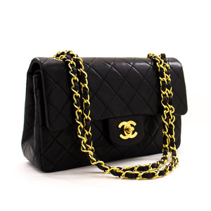 "CHANEL 2.55 Double Flap 9"" Chain Shoulder Bag Black Lambskin z44 hannari-shop"