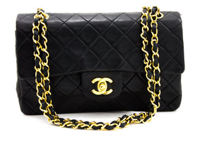 "CHANEL 2.55 Double Flap 9"" Chain Shoulder Bag Black Lambskin Purse y16 hannari-shop"