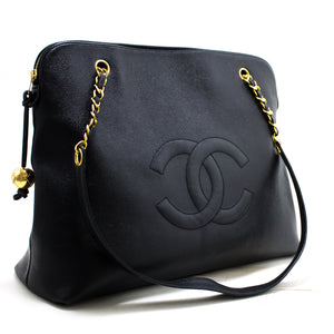CHANEL Caviar Jumbo Large Chain Shoulder Bag Black Gold Zipper R84