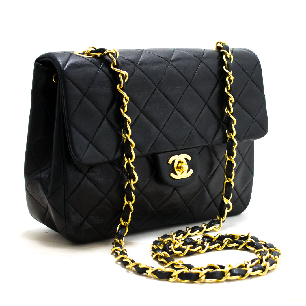 CHANEL Mini Square Small Chain Shoulder Bag Crossbody Black Purse s47-hannari-shop