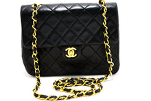 CHANEL Mini Square Small Chain Bag Spalla Crossbody Black Purse s47-hannari-shop