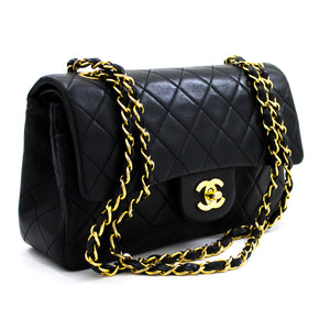 "CHANEL 2.55 Double Flap 9"" Chain Shoulder Bag Black Lambskin y17 hannari-shop"