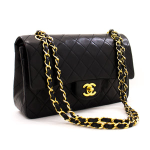 "CHANEL 2.55 Double Flap 9"" Chain Shoulder Bag Black Lambskin Purse z45 hannari-shop"