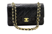 "CHANEL 2.55 Double Flap 9 ""Chain Umhängetasche Black Lambskin Purse z45 hannari-shop"
