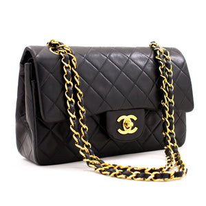 "CHANEL 2.55 Double Flap 9 ""Chain Shoulder Bag Black Lambskin Purse z46 hannari-shop"