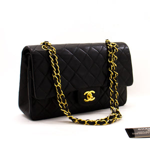 "CHANEL 2.55 Double Flap 10"" Chain Shoulder Bag Black Lambskin z40 hannari-shop"